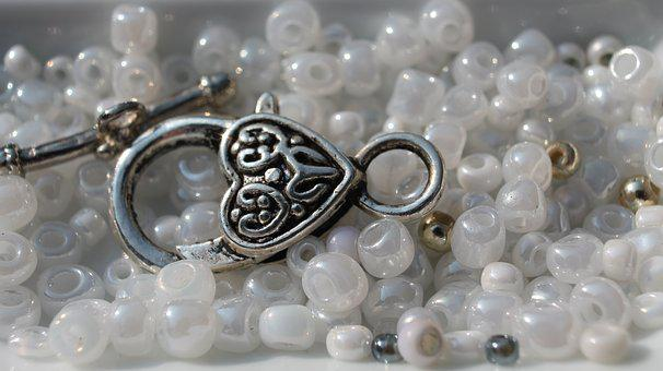 Art, Craft, Beads, Bracelet, Necklace, Silver, White