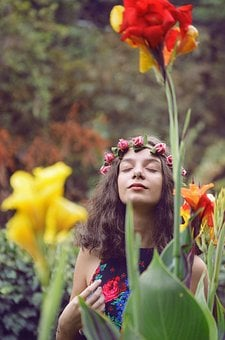 Flowers, Girl, Woman, Person, Beauty, Face, Floral
