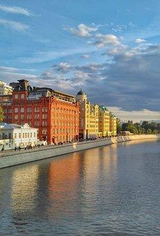 Moscow, Quay, Yakimanka, The Moscow River, Autumn, Sky