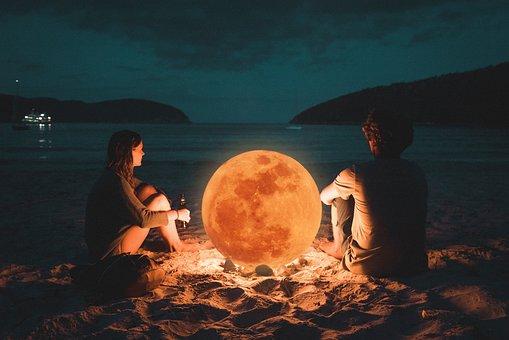 Couples, Moon, Light, Romantic, Night, Woman