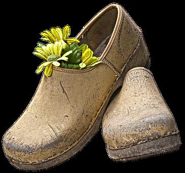 Clogs, Shoes, Garden Shoe, Fabric Flower, Decoration
