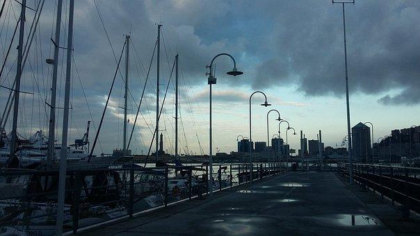 Genoa, Porto, Dawn, Sky, Thunderstorm