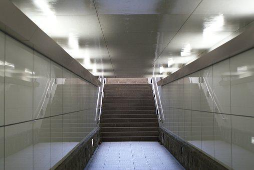 Underpass, Stairs, Handrail, Lighting, Narrow