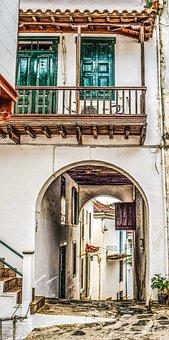 Greece, Skopelos, Chora, Village, Street, Alley, House