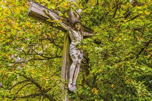 Jesus, Cross, Bavaria, Tree, Autumn, Overgrown, Symbol
