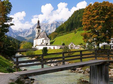 Nature, Landscape, Mountains, Church, River, Bridge
