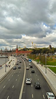 Moscow, Quay, The Moscow River, Park Zaryadye, October
