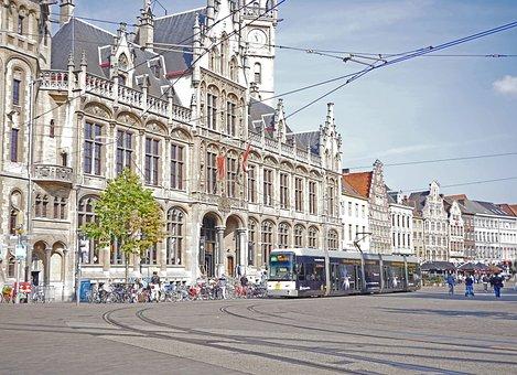 Gent, Kornmarkt, Old Post, Row Of Houses