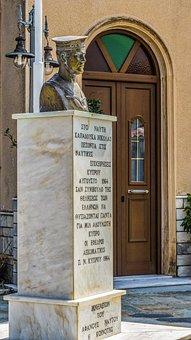 Greece, Skopelos, Glossa, Monument, Bust, Sailor