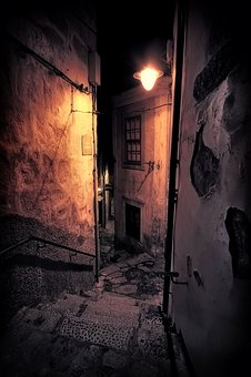 Dark, Street, Path, Lamp, Stairs, Traditional, Medieval
