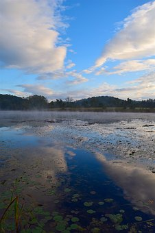 Lake, Water, Reflection, Sky, Clouds, Blue, Landscape