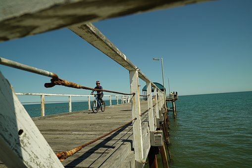 Henley Beach, Jetty, Cyclist, Seascape, Adelaide, Pier