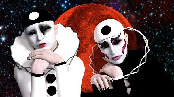 Pierrot, Masks, Luna, Melancholy, Sadness, Clown