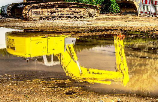 Excavators, Water, Mirroring, Reflection