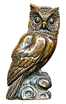 Owl, Bronze Statue, Plaque, Figure, Metal Figure
