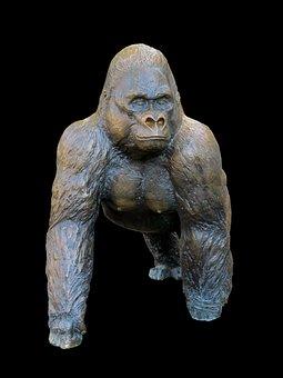 Gorilla, Monkey, Ape, Figure, Sculpture, Art, Statue