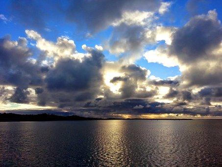 Cloudy, Clouds, Ocean, Sky, Nature, Blue, Light