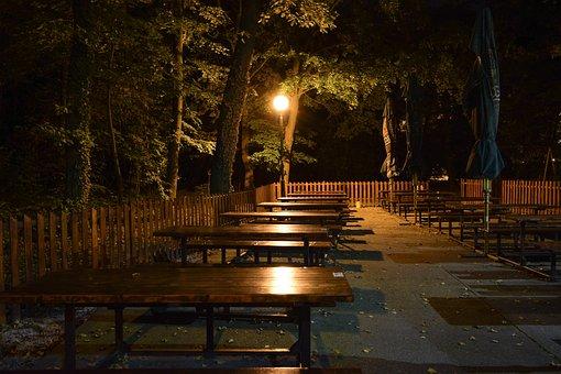 Night, Pub, Night Pub, Tables, Emptiness, Light, Trees