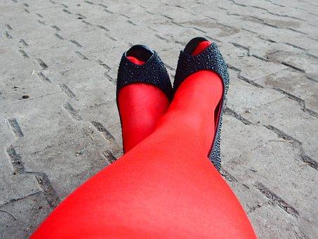 Red, Nylon, High Heeled Shoes, Clothing, Femininity