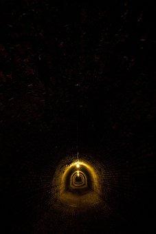 Asylum, Tunnel, Underground, Brick, Shadows, Dark