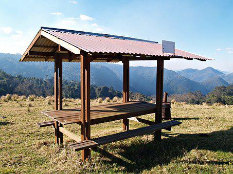 Picnic Table, Table, Shelter, Rustic, Seat, Bench, View