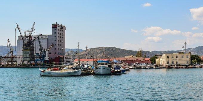 Greece, Volos, Port, Harbor, Boats, Cranes