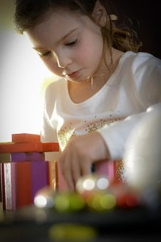 Concentration, Games, Play, Child, Girl, Face, Toys