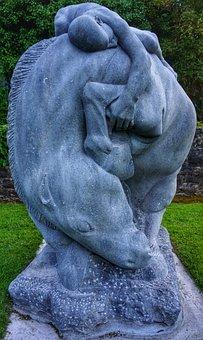 Statue, Sculpture, Art, Horse, Boy, Unusual, Ireland