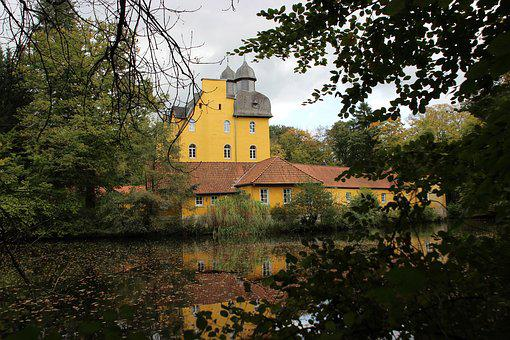 Lake, Castle, Schloß Holte, Nature, Waters, Autumn