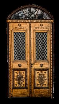 Door, Front Door, Old, Wood, Glass, Oak, Wrought Iron