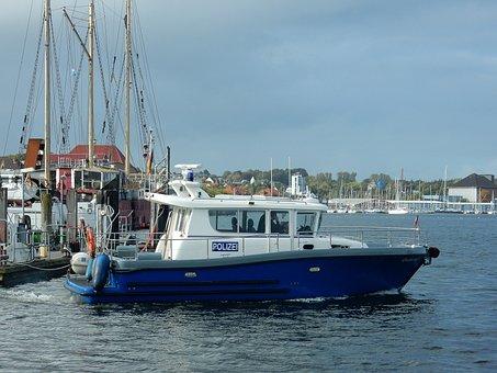 Police, Police Boat, Phased Out, Use, Port, Flensburg