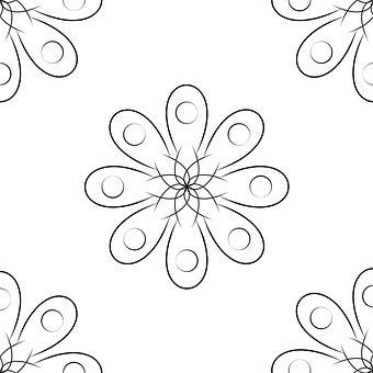 Piece, Flower, Floral, Pattern, White, Black, Corner