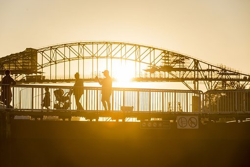Silhouette, Bridge, Sault Sainte Marie, Soo Locks