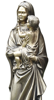 Statue, Woman, Bronze, Child, Sculpture