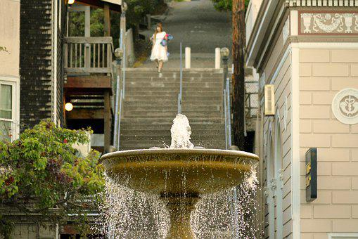 Chinese, Woman, White, Steps, Sausalito, Asian, People