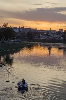 Sunset, River, Beach, City, Orange, Boats, Sunset Sky