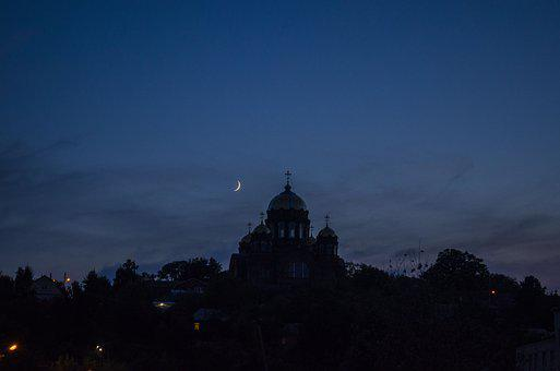 Night, Church, Month, Dome, Silhouette, Temple Of Night