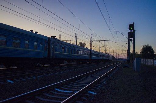 Road, Train, Cars, Night, Evening, Railway, The Way