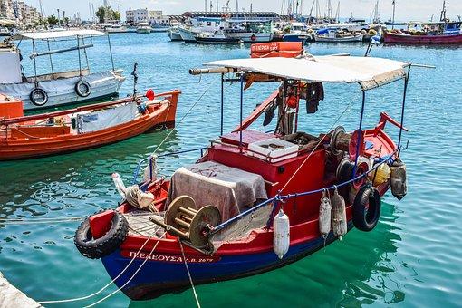 Boat, Port, Harbor, Sea, Town, Summer, Volos, Greece