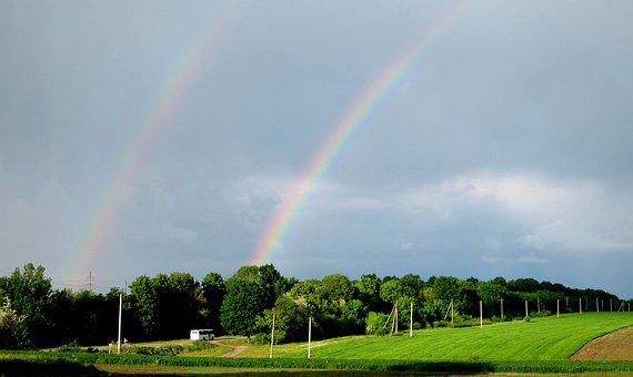Rainbow, Nature, Field, Road, Two Rainbows, Sky, Rain