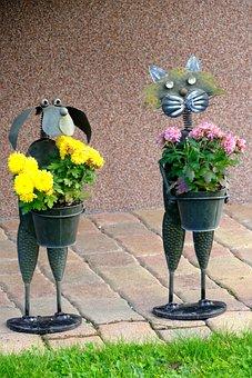 Figures, Pair, Flowers, Original, Unique, Beautiful
