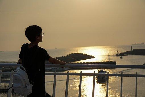 Peek, Standing, Sunset, Looking, White, Peeking, People