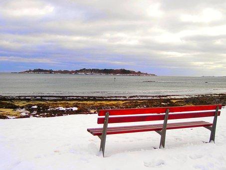 Bench, Massachusetts, Winter, Landscape, Sky, Nature