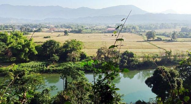 Laos, River, Vang Vieng, Plain, Agriculture, Serenity