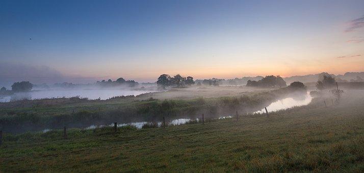 Fog, River, Lake, Early Morning, Sunrise, Bank