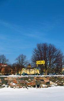Cable, Sign, Beach, Trees, Buildings, Blue, Sky, Snow