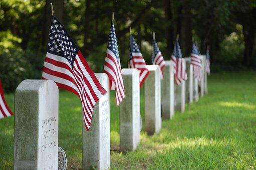 Graves, Flag, United States, Cemetery, Memorial