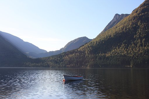 Boat, Mountain, Fjord, Sea, Lake, Water, Blue, Sky