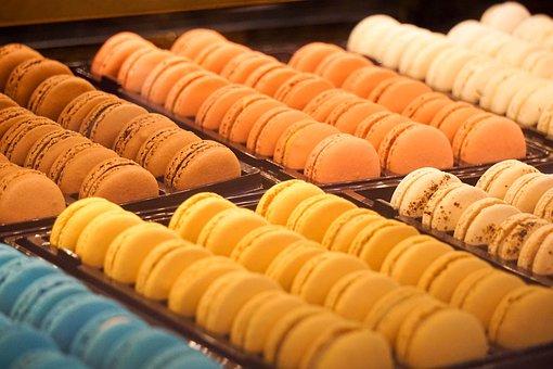 Macaroon, Dessert, Sweet, Bakery, Food, Yellow, Red