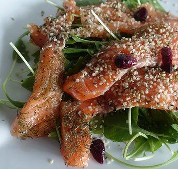 Salmon, Hulled Hempseed, Hemp, Gravlax, Rocket, Food